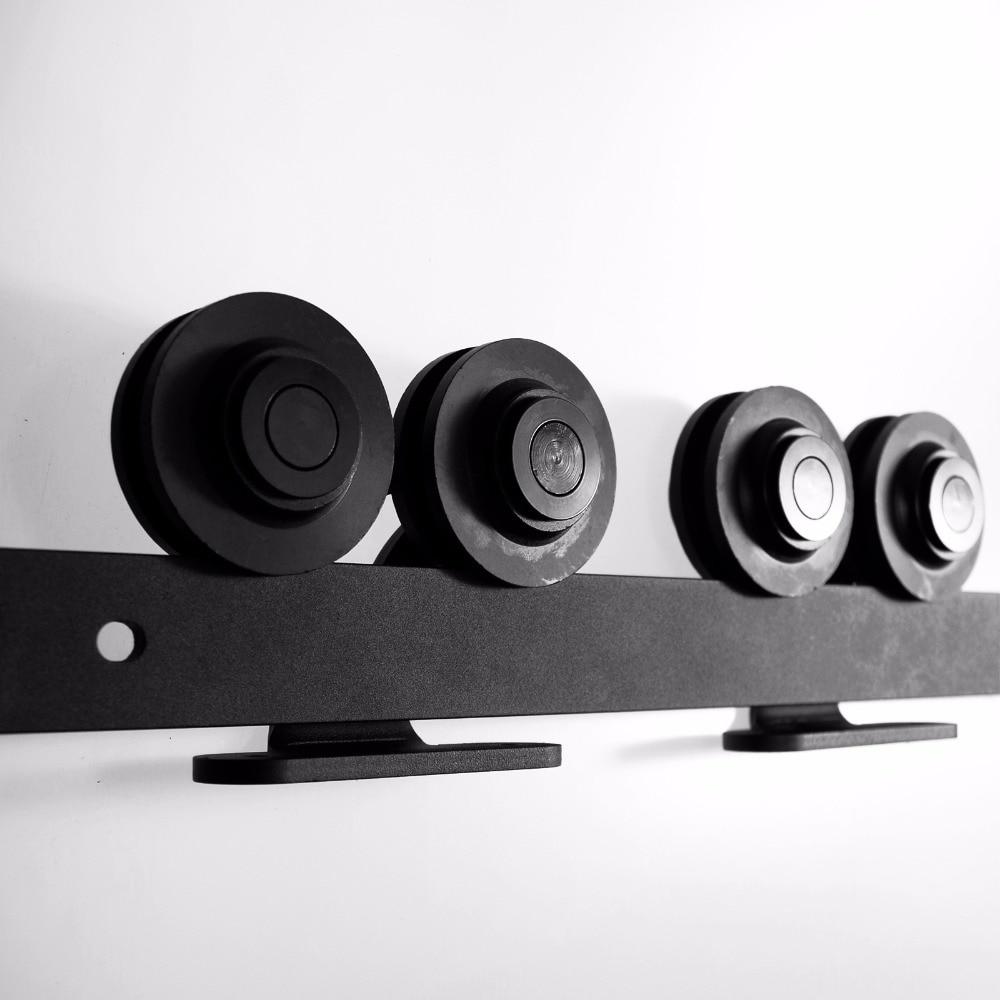 LWZH DIY Carton Steel Sliding Barn Door Hardware Kit Black T- Shaped with Two Rollers for Interior Sliding Single Door