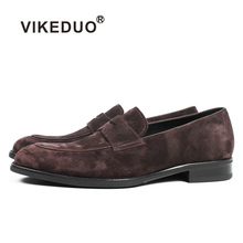 VIKEDUO New Brown Loafers Shoes For Men Handmade Patina Blake Casual Footwear Cow Suede Wedding Zapato Hombre Slip-on Flat Shoes