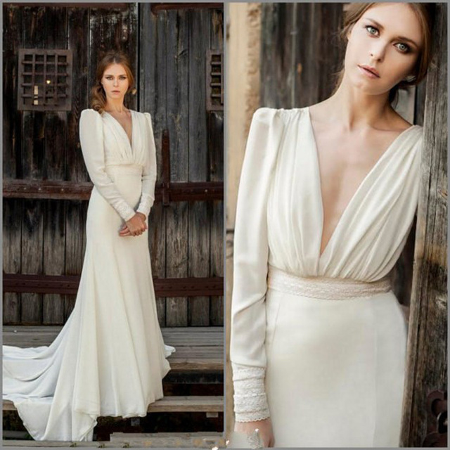 Vestidos de Novia Wedding Dresses with Deep V Neck Chiffon Long ...