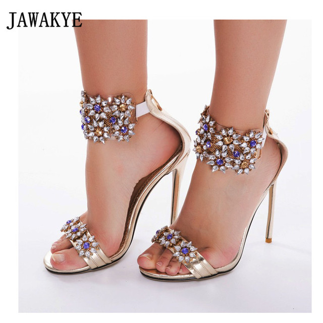 578f4d16604f3a Bling Bling Flower Jeweled Sandals Peep Toe Ankle Strap Rhinestone Ladies  High Heels Shoes Gladiator Sandals Women zapatos mujer