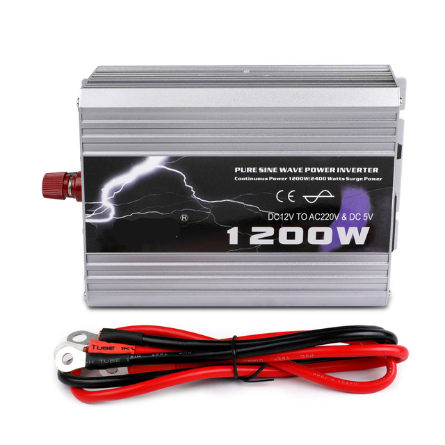1200W 10Amps Car Power Inverter DC 12V TO AC 220V Auto Charger Converter Adapter With Power Cord Plug Use TV Notebook Laptop
