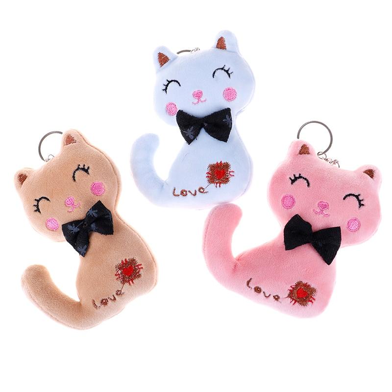 10/12cm Cat Plush Animal Stuffed Kitty Cat Key chain TOY, Kid's Party Plush TOY Bouquet Plush Dolls