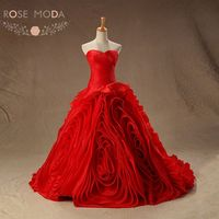 Luxury 3D Swirled Organza Ball Gown Red Wedding Dress Lace Up Back Vestidos De Noiva Real