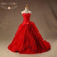 Rose Moda Organza Ball Gown Red Wedding Dress Plus Size Lace Up Back Vestidos de Noiva Real Photos