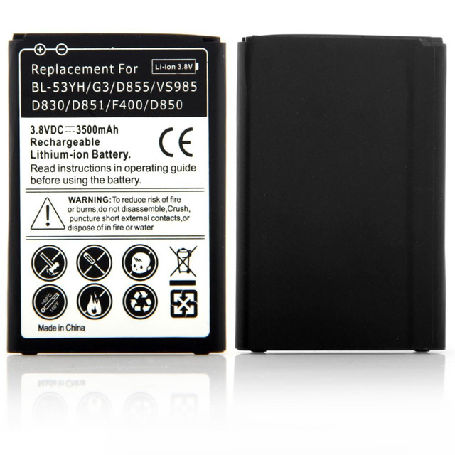 New High Capacity 3500mAh Lithium Rechargeable Batteria Replacement For LG G3 D855 VS985 D830 D851 F400 D850 Battery 3.8V