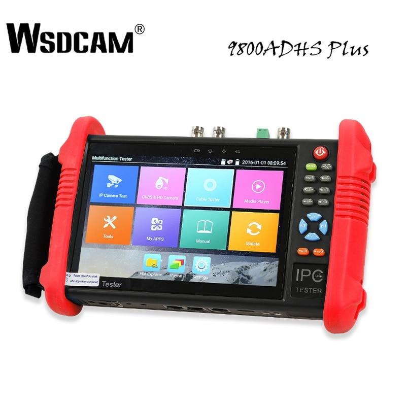7 Polegada Tester CCTV IP Camera Monitor Tester com SDI/TVI/AHD/CVI/POE/WIFI /4 K H.265/1080 p HDMI In & Out/RJ45 TDR 9800 ADHS Plus
