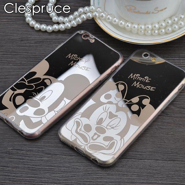 Clespruce Mirror case Style Cute Sweet Mickey Minnie Mouse TPU Mobile Phone Cases Cover For iPhone 5 5S SE 6 6S 6Plus 5.5 Inch