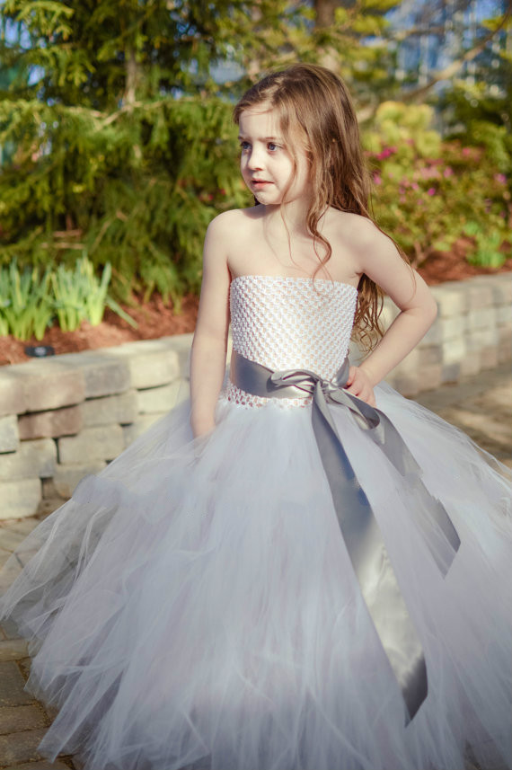 gray sash white tulle bridesmaid flower baby girl wedding dress fluffy ball gown birthday costume cloth tutu party dresses