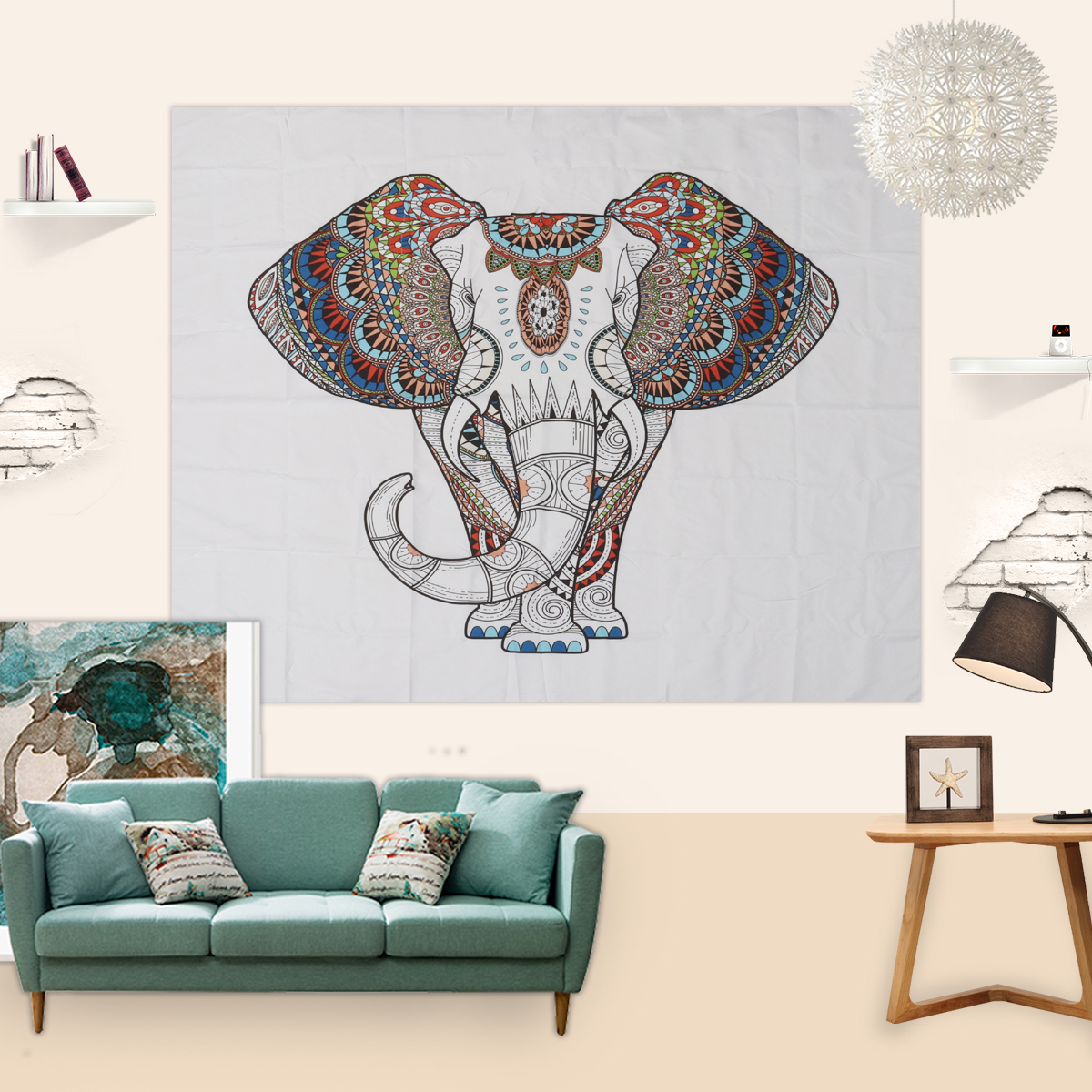 Buy elephant tapestry colored printed - Curtain ideas for living room india ...
