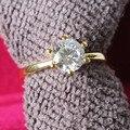 Arte exquisito AU750 Anillo de Oro Amarillo 1.5Ct Corte Redondo Anillo de Bodas Sólido 18 K Oro Amarillo 750 Splendid Femenina Anillo