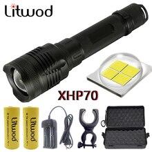 Litwod Lámpara de chip de 32w para exteriores linterna LED táctica con lente de zoom potente, batería de 10000mAh y 26650, modelo Z20 P78 Original CREE XHP70