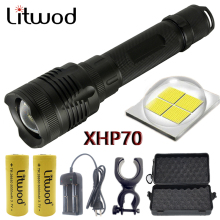 Z20 Litwod P78 Original CREE XHP70 32w chip lamp 3200lm powerful zoom lens Tactical LED flashlight torch 10000mAh 26650 battery