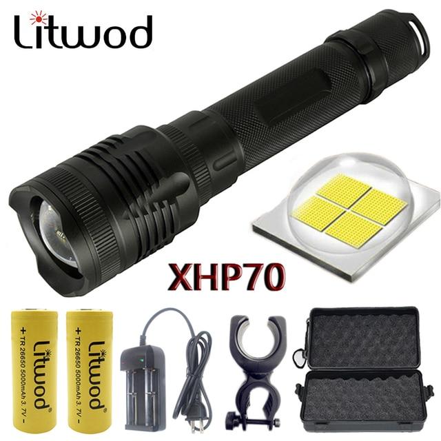 Z20 Litwod P78 Original CREE XHP70 32w chip lamp 3200lm powerful zoom lens Tactical LED flashlight torch 10000mAh 26650 battery