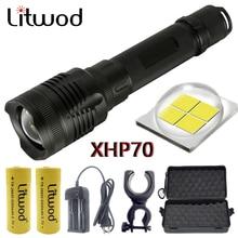 Z20 Litwod P78 Originele Cree XHP70 32W Chip Lamp 3200lm Krachtige Zoom Lens Tactische Led Zaklamp Zaklamp 10000Mah 26650 Batterij