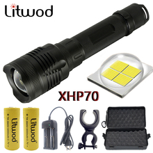 Z20 Litwod P78 orijinal CREE XHP70 32w çip lamba 3200lm güçlü zoom objektifi taktik LED el feneri meşale 10000mAh 26650 pil