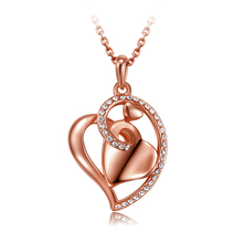 gold color heart love crystal pendant