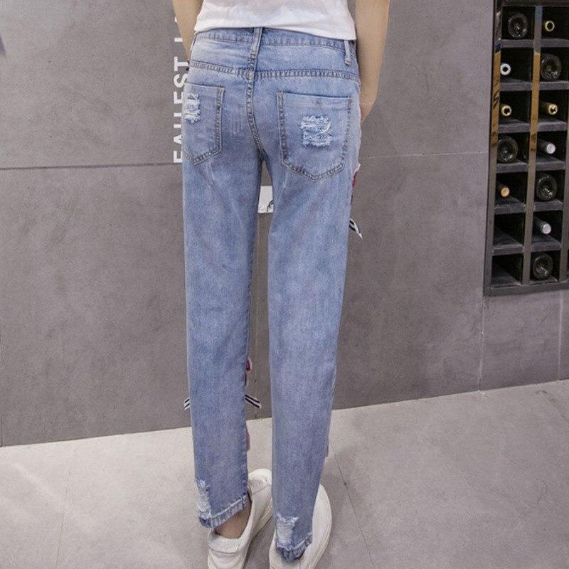 Fashion New Rainbow Pattern Sequin Jeans Mujer Ripped Jean Boyfriend Jeans