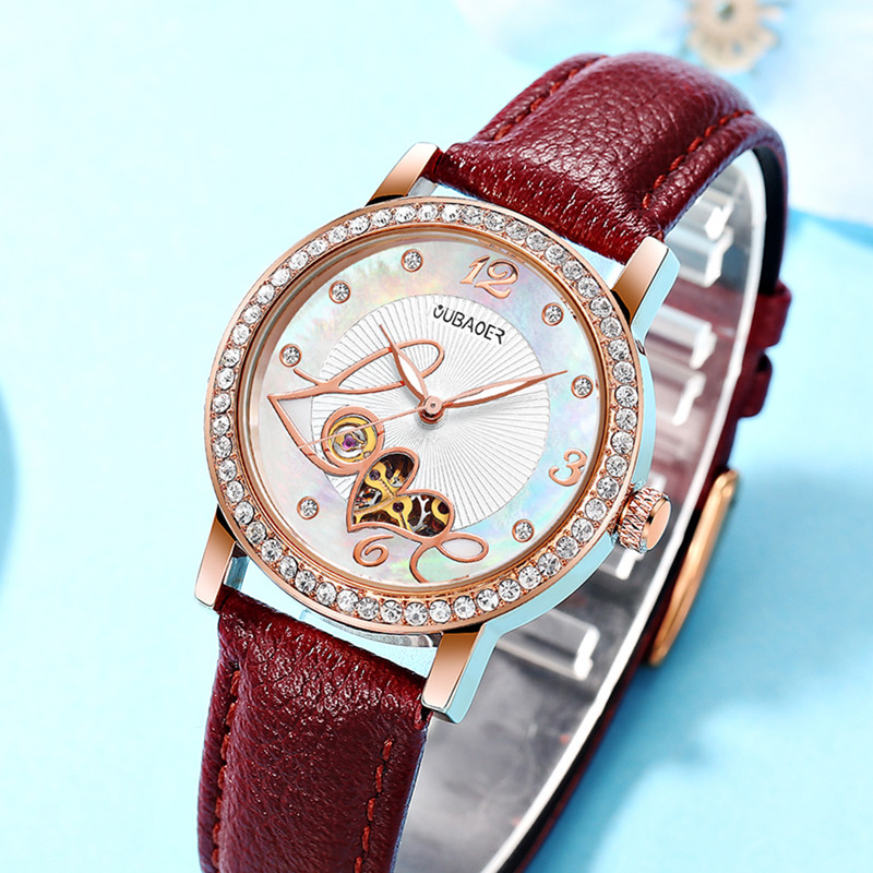 Women Watch Ladies Automatic Mechanical Waterproof Luxury Leather Watches Rhinestone Heart Clock Relogio Feminino