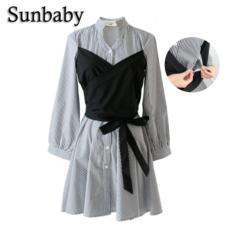 Summer Korean High Fashion Casual Unique Design Nursing dress Striped with sashes long sleeve breastfeeding dress