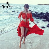 AZULINA Off Shoulder Red Chiffon Summer Beach Maxi Dress Women 2017 Two Piece Set Sexy Lace