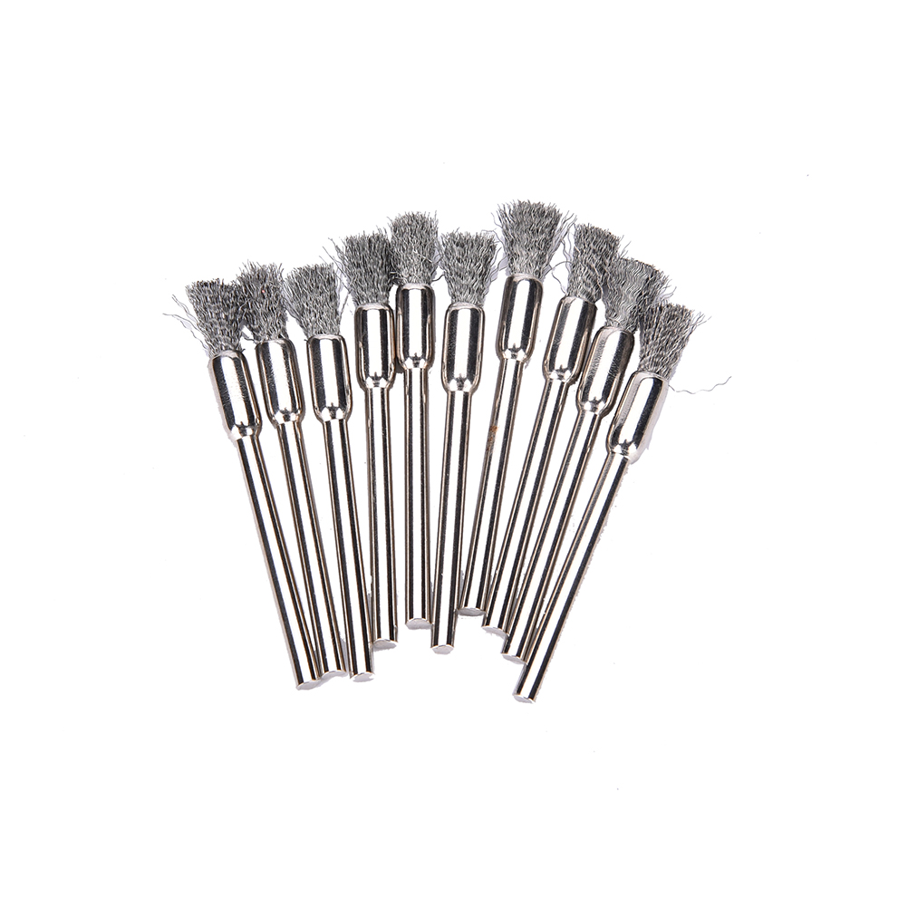 10pc Mini Wire Brush Brushes Brass Cup Wheel For Grinder Or Drill 3x5mm