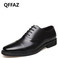 QFFAZ men fashions 2019 Genuine Leather Oxford Classic Men Shoes Business Hombre Official Dress Shoes mens leather footwear