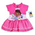 Lunares rosados lindos Doc . Mcstuffins Vestido Infantil Baby Girl Vestido niño Menina ropa Infantil niño ropa infantiles desgaste