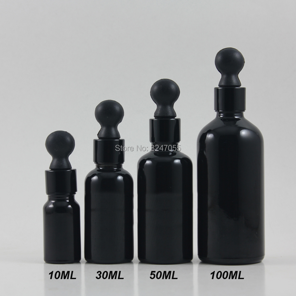 10ml30ml50ml100ml Black Graceful Empty Essential Oil Bottle,DIY Glass Pipettes Bottle,Cosmetic Vial Essence Refillable Container 6pcs 1oz 30ml amber glass spray bottle w black fine mist sprayer refillable essential oil bottles empty cosmetic containers