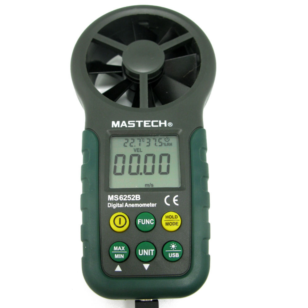 MASTECH MS6252B Professional Digital Anemometer T&RH sensor Air-Velocity/Flow humidity digital indoor air quality carbon dioxide meter temperature rh humidity twa stel display 99 points made in taiwan co2 monitor