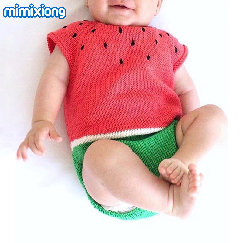 Baby Girl Bodysuits Cartoon Watermelon Overalls For Newborns Boys Short Sleeve Body Suits Children Funny Sunsuits Summer Clothes