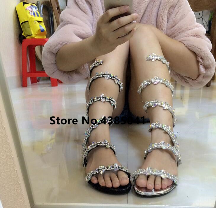 YUE JABON Luxurious gladiator women Flat Sandals Snake Punk Rhinestone Flat  Heel Women Sandals Wedding Party shoes Plus size 42-in Women s Sandals from  ... ca4d0e3b7aa4