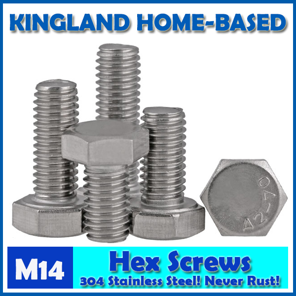 M14 DIN933 External Hex Hexagon Head Screws Full Threaded Up To The Head 304 Stainless Steel Bolt Machine Screws DIY Maintain 25pcs m6 10mm m6 10mm 304 stainless steel ss din933 full thread hex hexagon head screw
