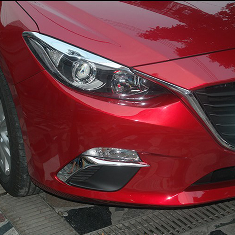 Free Shipping High Quality ABS Chrome Front Fog lamps cover Trim Fog lamp shade Trim For Mazda 3 Axela