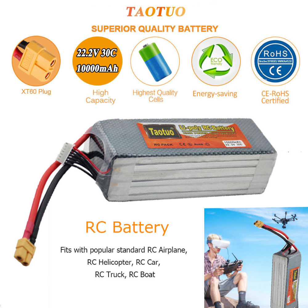 Pour DJI Phantom S900 S1000 RC Quadcopter Batterie 22.2 V 10000 mAh 6 S 30C XT60 Plug Li-polymère Lipo Batterie FPV Pièces Bateria