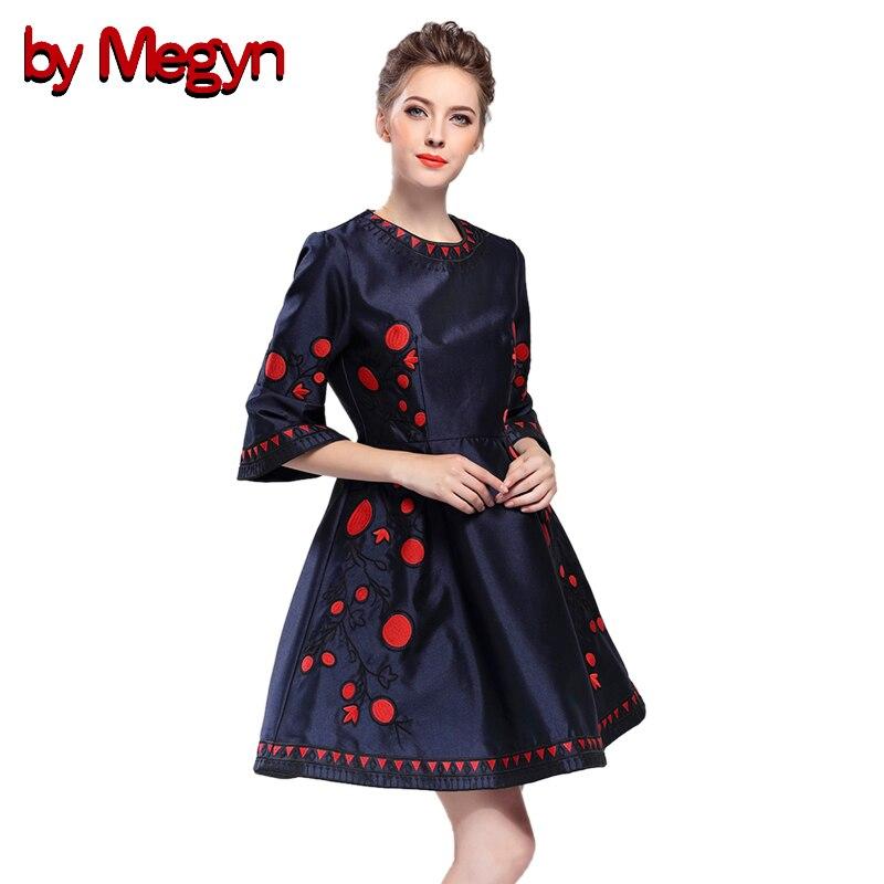 by Megyn vintage dress 2017 autumn women Flare Sleeve A Line elegant embroidery mini dresses vestidos plus size dress for female vintage mini flare dress