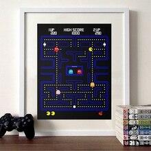Pac Man плакат видео игра принт Atari Ретро игровая Картина на холсте аркадная игра гик плакат для мальчиков игровая комната Настенный декор
