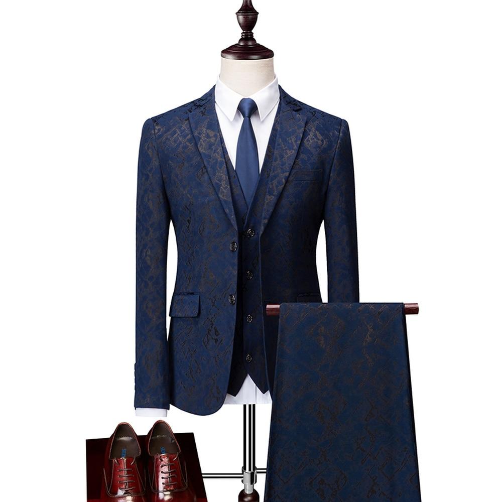 Wonderful Navy Blue Male Prom Wedding Tuxedo Fashion Printed Groom Suit Mens 2 / 3Pcs Set Slim Fit Male Suit (Jacket+Pants+Vest)