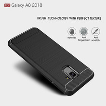 Phone Case For Samsung Galaxy A8 2018 Case Silicone Soft TPU Brushed Carbon Fiber Texture Cover For Galaxy A8 2018 Fundas