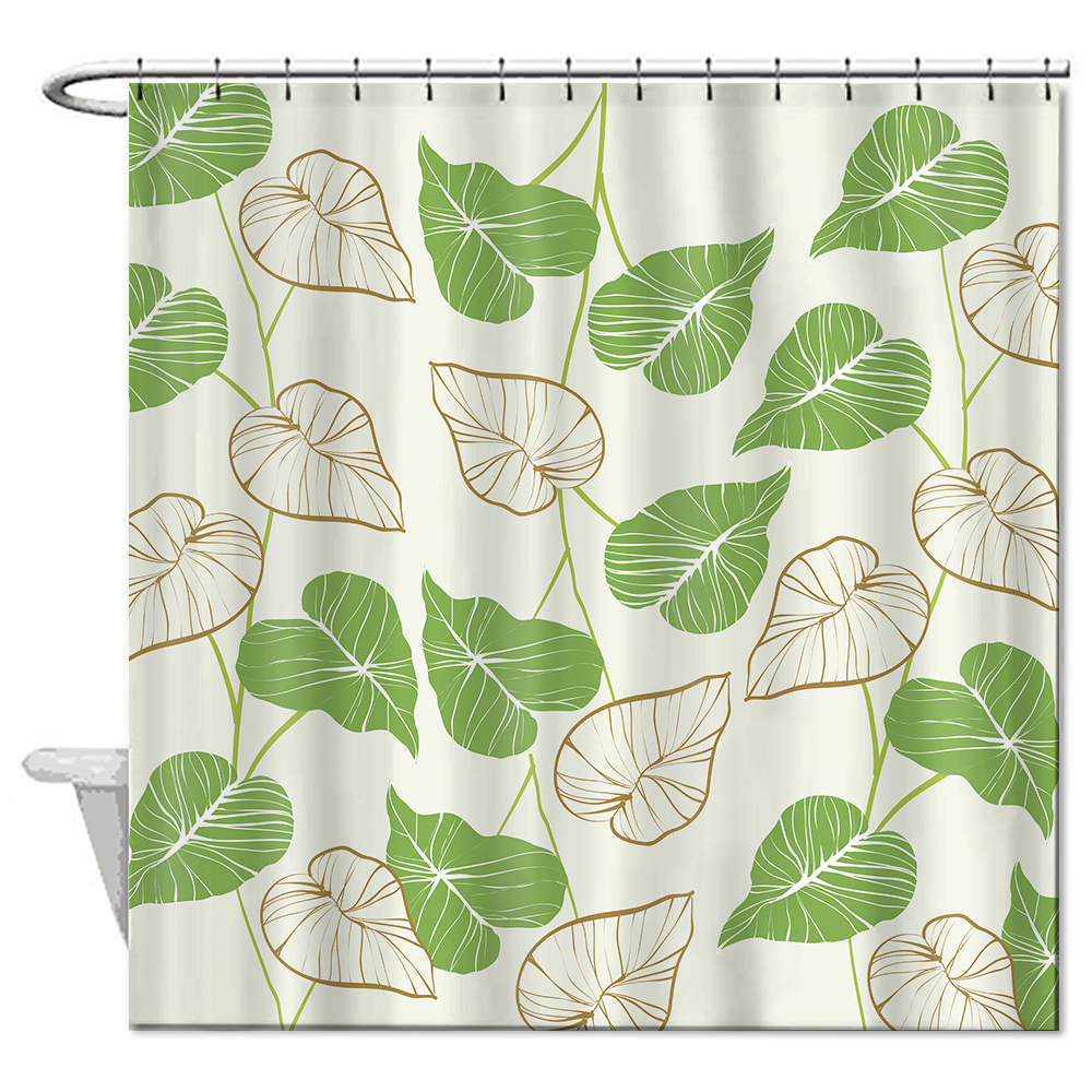 Green shower curtains - Bathroom Shower Curtain Green Leaves Print Shower Curtains Waterproof Polyester 72 72