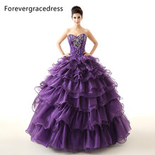 Forevergracedress Real Images Purple Quinceanera Dress Sexy Hot Sale Long Ruffles Beaded Backless Formal Party Gown Plus Size