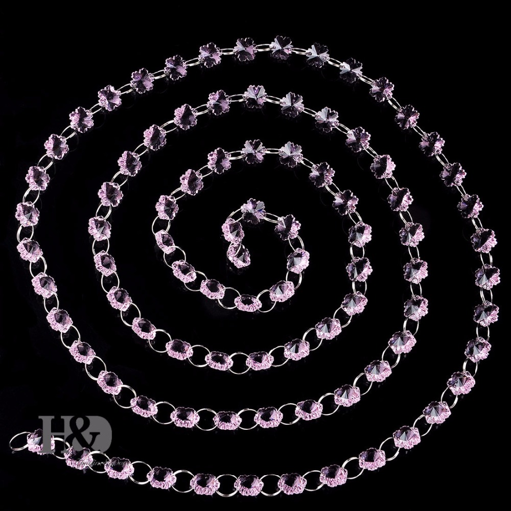Pink Snowflake Bead Chain Beauty Door Decorate <font><b>Curtain</b></font> Accessories K9 Chandelier Prisms Part Window Hanging Pendant 89bead/Chain
