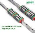 2 шт. оригинальный HIWIN HGR20-1200 мм линейный направляющий рельс + 4 шт. HGH20CA узкий блок каретки подшипники для ЧПУ