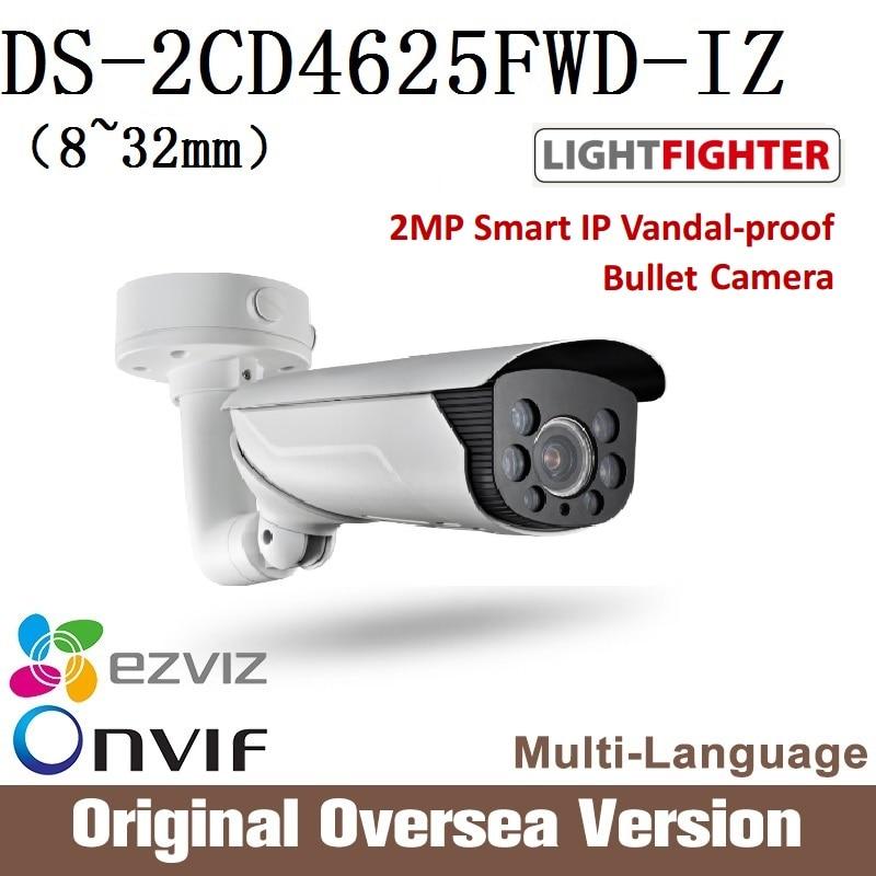 HIKVISION  DS-2CD4625FWD-IZ 8-32mm 2MP Smart IP Vandal-proof Bullet Camera English Version H265 Onvif RJ45 lightfighter upgrade hikvision ds 2cd4a25fwd iz 2mp smart ip camera cctv bullet 1080p poe ip67 ir english version h265 wdr onvif rj45 lightfighter