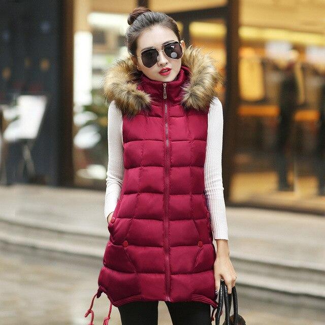1PC 2016 Winter Long Vest Women Colete Feminino Faux Fur Hooded Cotton Padded Outerwear Gilet Veste Femme Y0805-70E