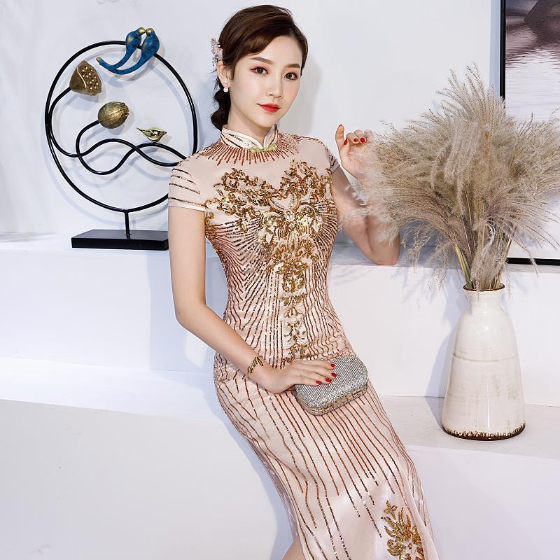 U SWEAR 2019 New Arrival Women Bridesmaid Dress Cheongsam Embroidery Sequined Beaded Sheath High Waist Vintage Bridesmai Dresses