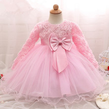 Princess Pink Long Sleeve Baby Girls Dress For Girls Baptism Christening Gown 1st Birthday 2 Years Baby Girl Clothes Vestido 6M