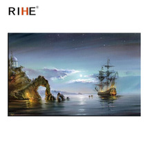 RIHE Night Ocean Diy Painting By Numbers Island Boat Oil On Canvas Hand Painted Cuadros Decoracion Moon Acrylic Paint