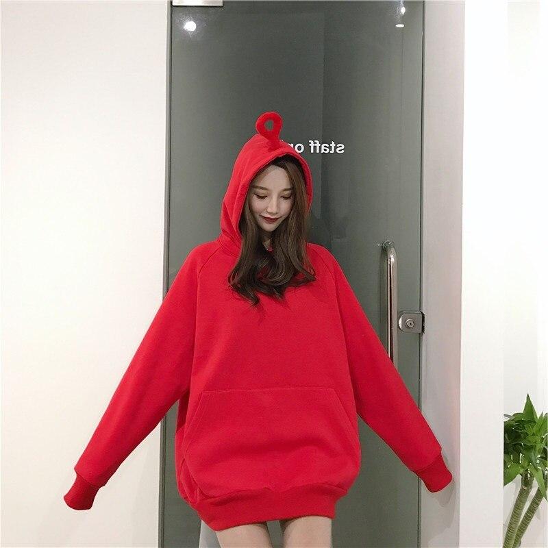 4ebbc304d0 Winter Pure Color Hoodies Women Loose Teletubbies Ears Harajuku Long  Sleeves Oversized Sweatshirt And Pullovers Kawaii Bts Kpop-in Hoodies    Sweatshirts ...