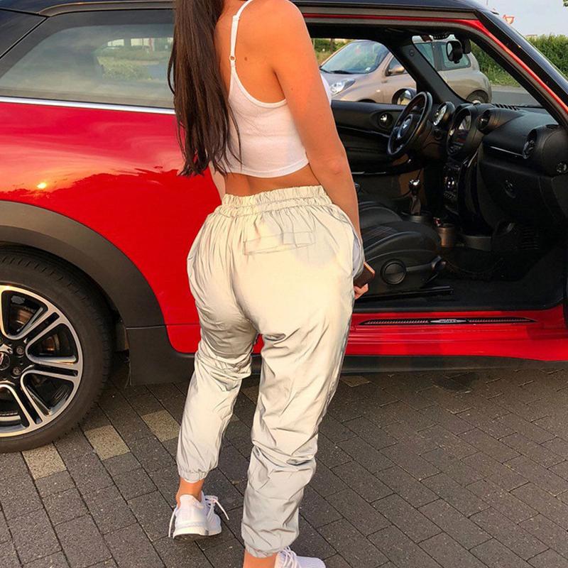 19 New Women's Reflective Pants loose High waist cargo Trousers Jogger Baggy Trousers glowing pants pantalon reflechissant 6