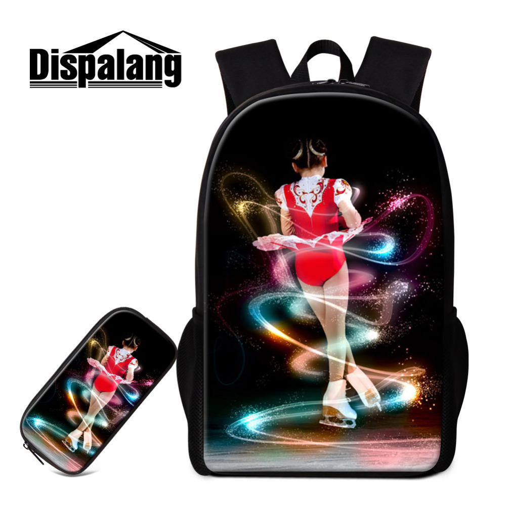 Dispalang 2pcs/set School Bags for Teenage Ice Skating Girls Backpack with Pencil Case Kids Knapsacks for Teens Student Bookbag first sticker book ice skating